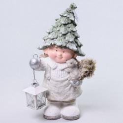Keramika, dievča s lampášom a veveričkou, 43,5 cm