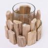 Svietnik drevo so skleneným pohárom, 12 cm