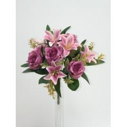Kytica ruža a lalia x9, mix farieb, 33 cm