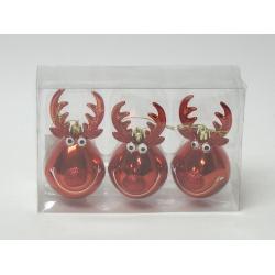 Záves sob, sklo, červené, 10 cm, 3 ks