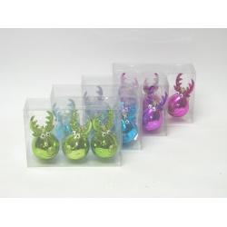 Záves sob, sklo, mix farieb, 10 cm, 3 ks