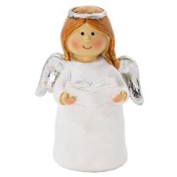 Anjelik, biely s knihou, 4,5 x 3 x 6,5 cm