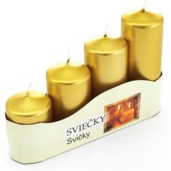 Adventné sviečky, postupné, metal. zlatá, 13 x 20 x 5 cm