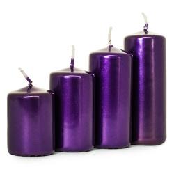 Adventné sviečky, postupné, metal. fialová, 5 - 10 cm, 4 ks