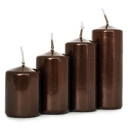 Adventné sviečky, postupné, metal. hnedá, 5 - 10 cm