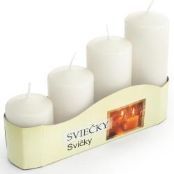 Adventné sviečky, postupné, biele, 13 x 20 x 5 cm
