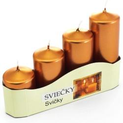 Adventné sviečky, postupné, metalické medené, 13 x 20 x 5 cm