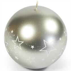 Sviečka gula strieborná, biele hviezdy, 10 cm