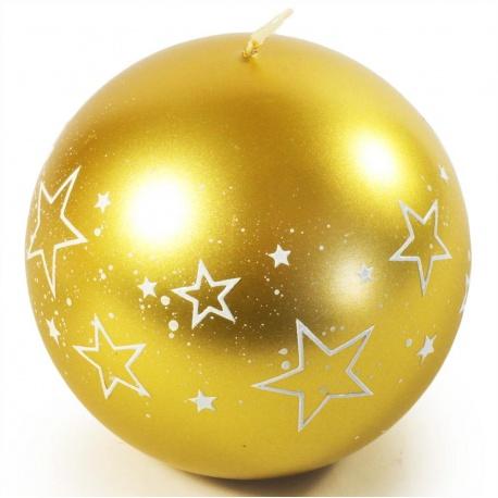 Sviečka gula zlatá, biele hviezdy, 10 cm