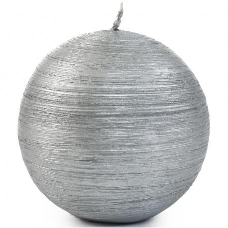 Sviečka Drapana guľa, strieborná, 8 cm