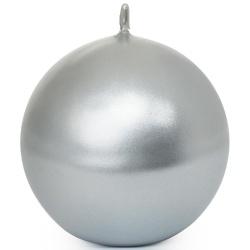 Guľa hladká, metal. strieborná, 8 cm