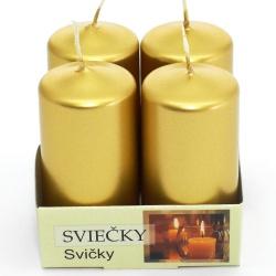 Sviečka adventná, metalická, zlatá, 4 ks, 4 x 8 cm