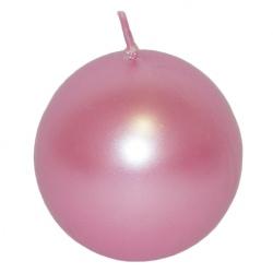 Sviečka guľa, metal. ružová, 10 cm