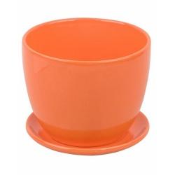 Keramický kvetináč s podmiskou, oranžový, 15 cm