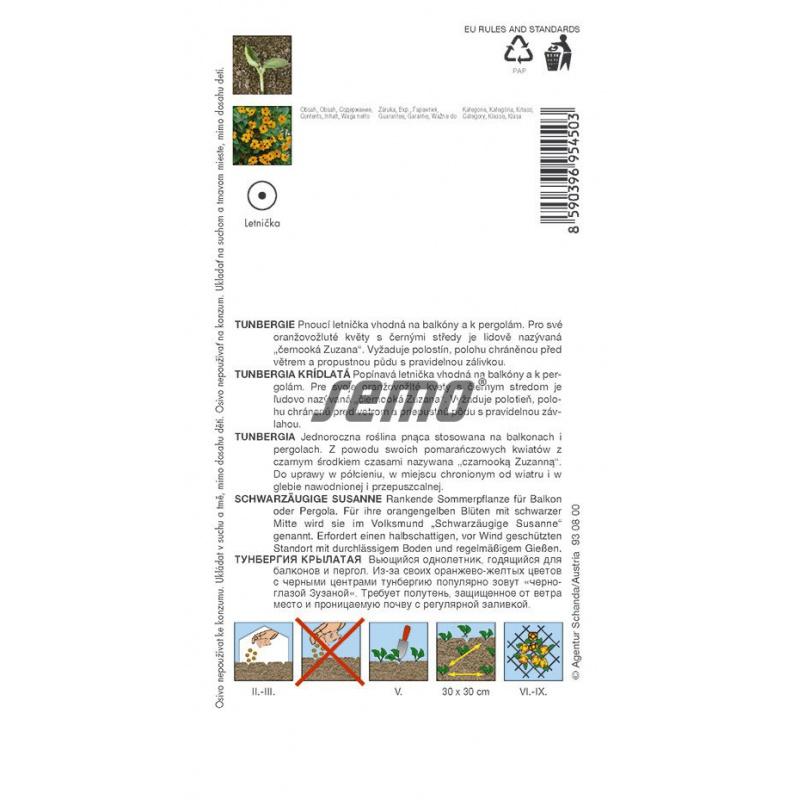 Tunbergia krídlatá, ČIERNOOKÁ ZUZANA, oranžová, S4, 9545, 1 g